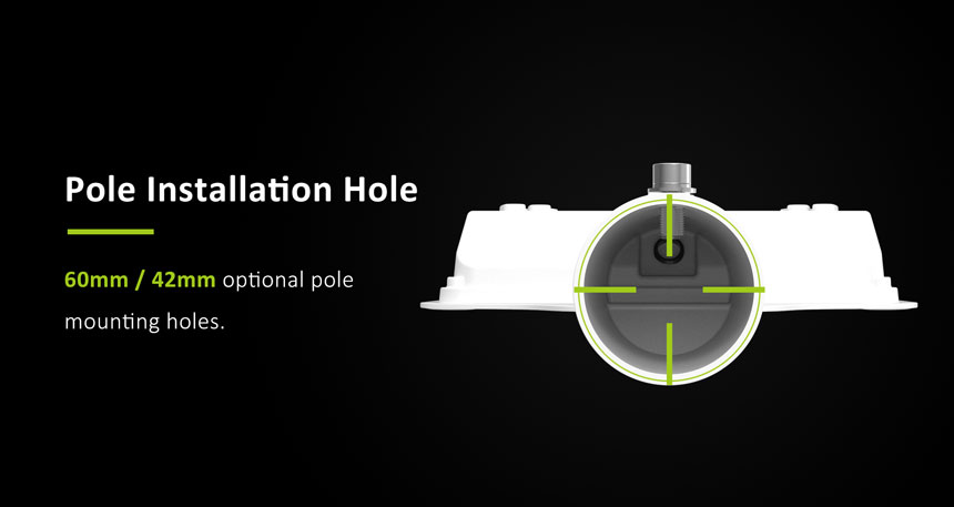 50w led street light pole installation holes 60mm/42mm