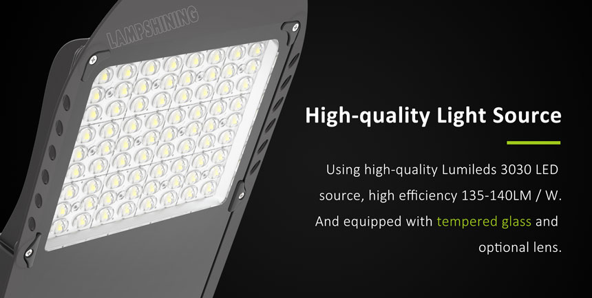 120w lumileds 3030 saturn led street light with tempered glass and optional lens