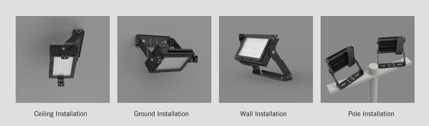 LED sport lights optional installation method