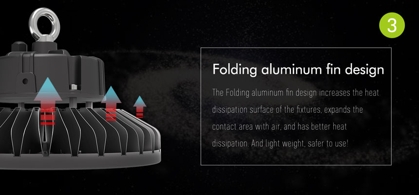 150w slim fin ufo led high bay light folding aluminum fin design