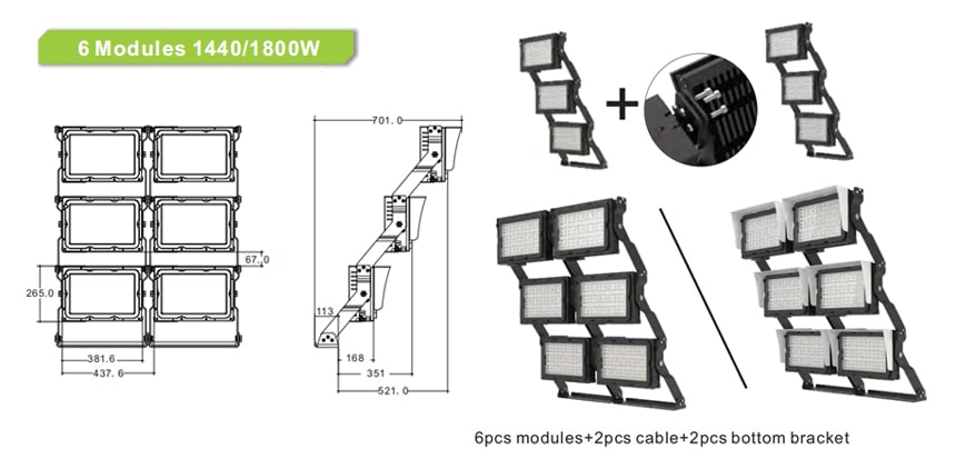 dragonfly plus series 1440w 1800w led sports light easy combination