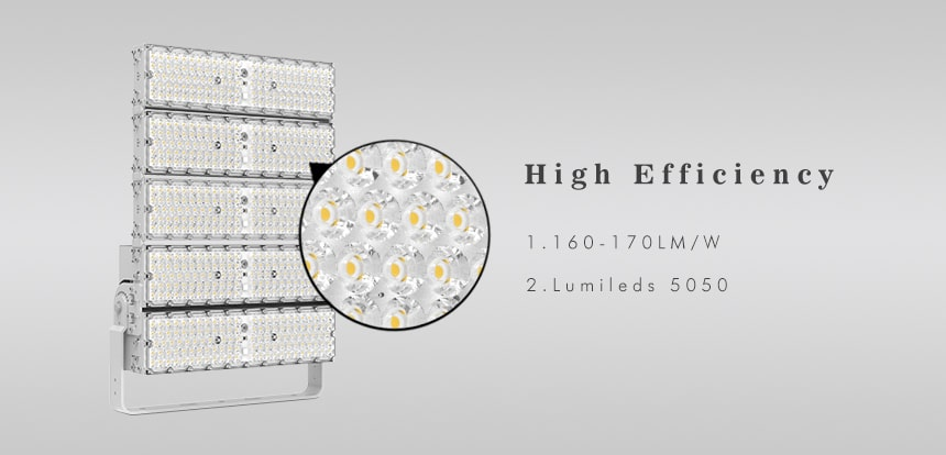 high efficiency 1500w led high pole flood light