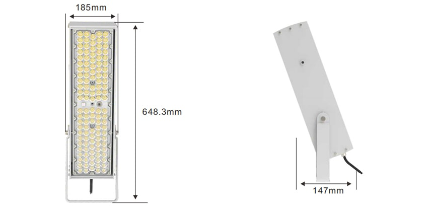 slim max 240w led high pole light size