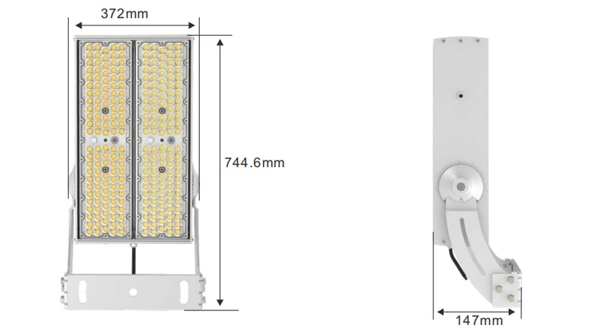 400W 480W 600W Module Flood LED Light size