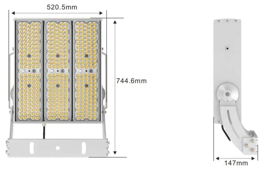 720w 900w outdoor led flood light size