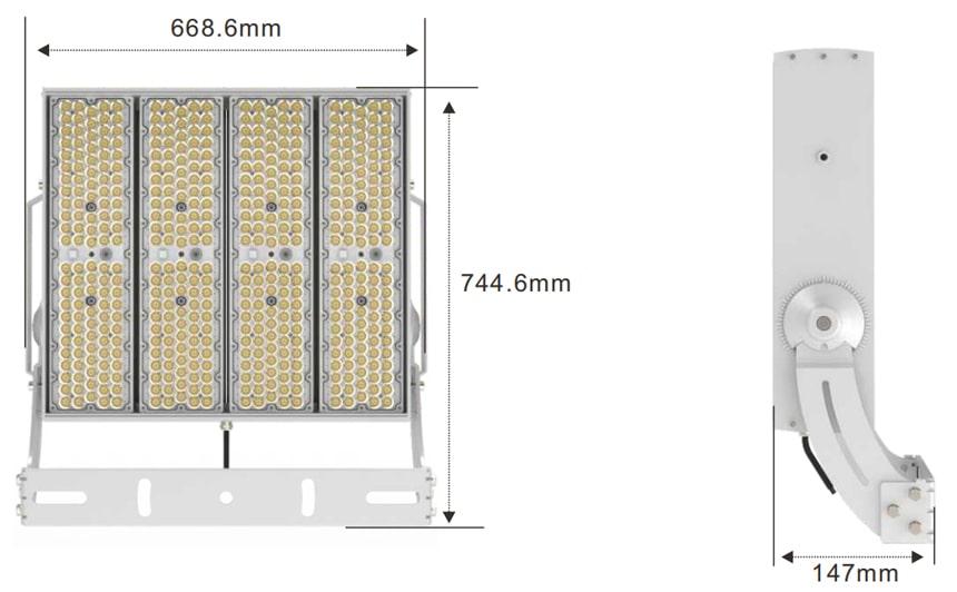 slim max 800W 960W 1200W LED Flood Light size