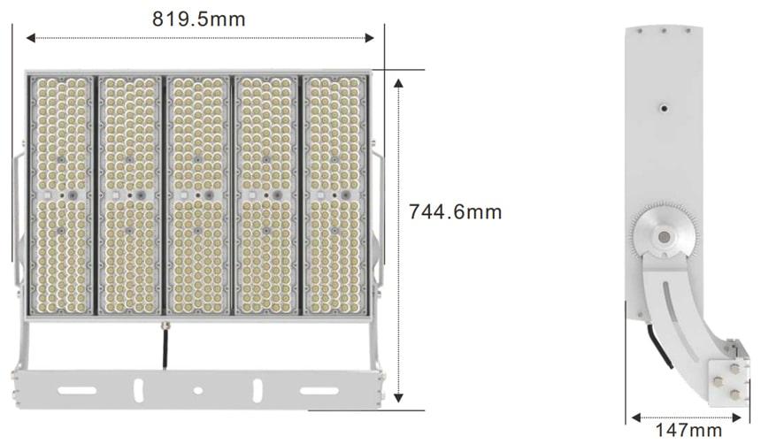 slim max 1500w led high pole light size