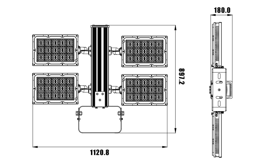960w 1200w led pole light size