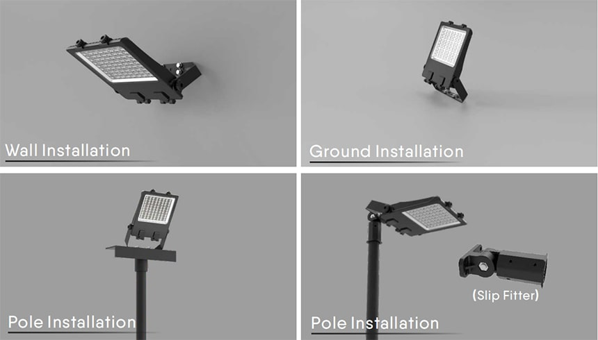 200w led flood light can wall.ground,pole installation