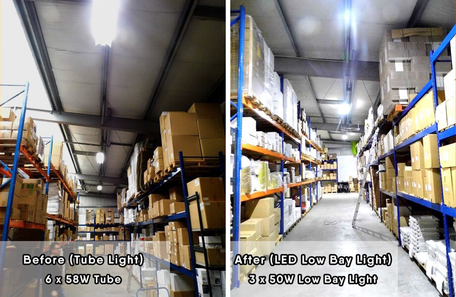 3pcs 50W LED Low Bay Light replace 6pcs 58W T8 Tube Light