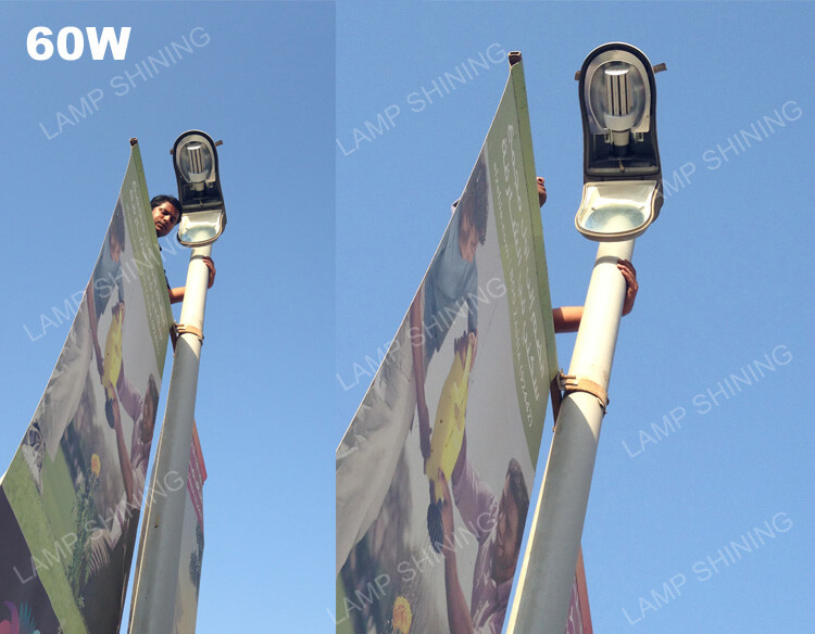 50W and 60W LED Corn Bulb Installed in Street Fixtures for Parking Lot.jpg