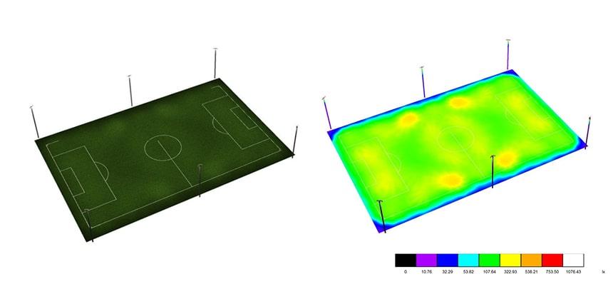 1200w led flood light sports field simulation