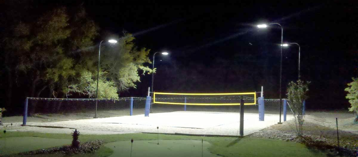 volleyball court 4 pole lighting layout