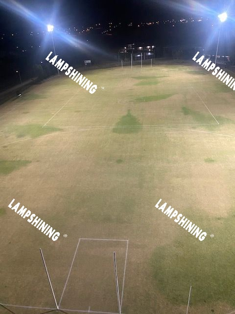 dragonfly series 1800w led high mast light illuminates the football training ground