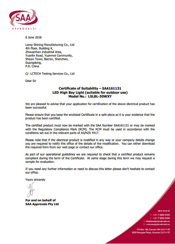 Letter ND Cert 161131