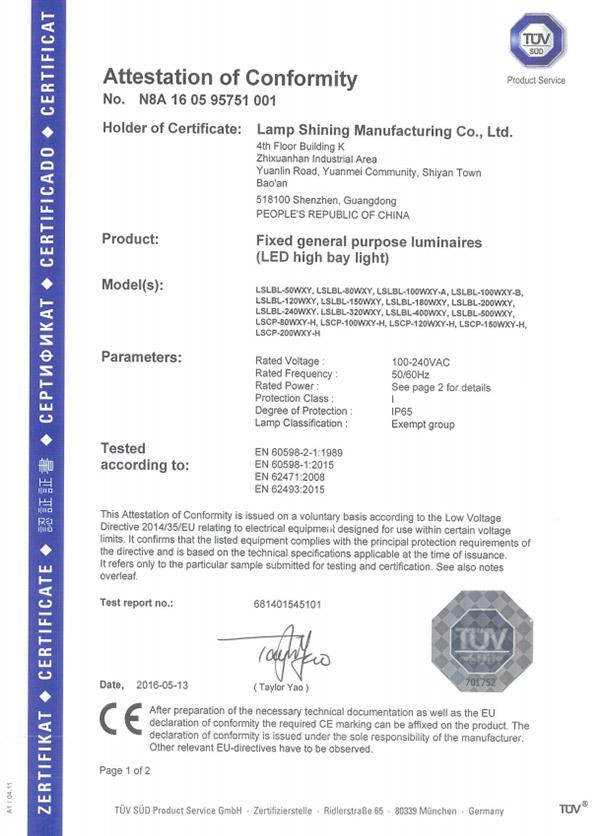 50-500W TUV LVD Certificate