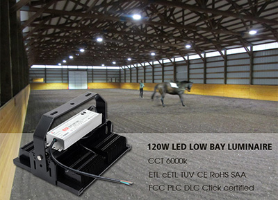 120w led low bay luminaire case at Racecourse