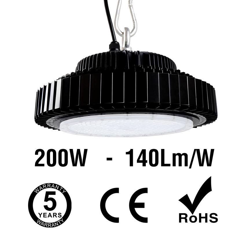 200W UFO LED High Bay Light 140Lm/W 28000 Lumen CE RoHS