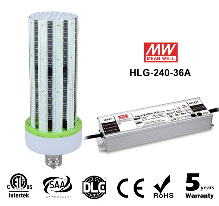 240W LED Corn Bulbs External driver HLG-240H-36A 28000Lm Equal 1000W HID
