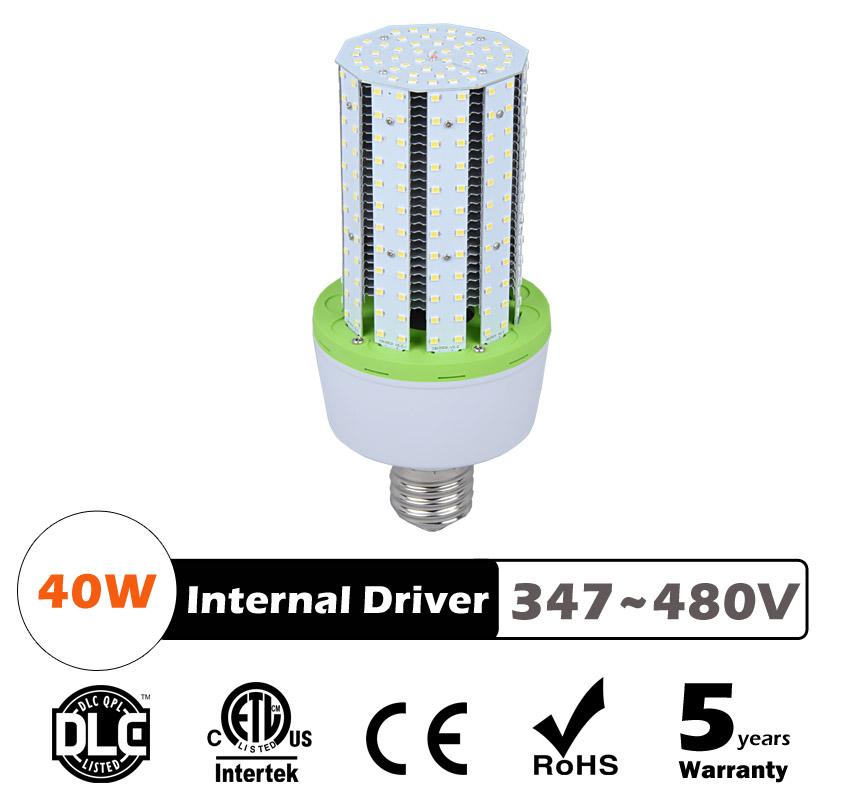 40W LED Corn Bulbs AC 347V 480V 5200Lm 130Lm/W Equal 150W HID