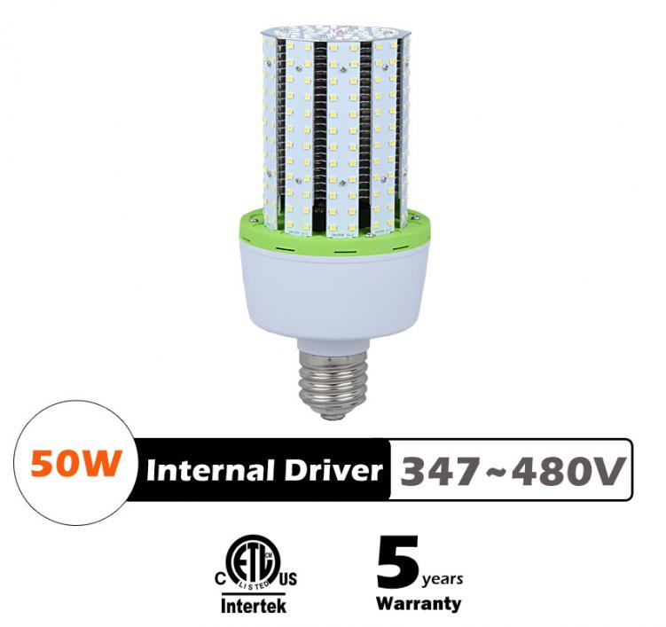 50W LED Corn Bulbs AC 347V 480V 6250Lm 130Lm/W Equal 175W HID
