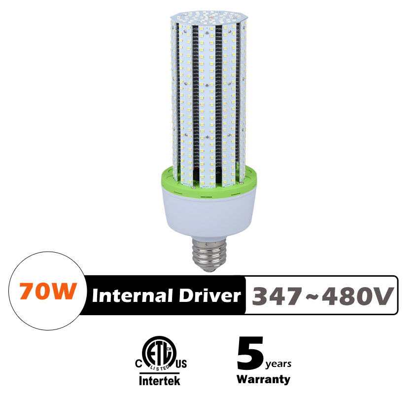 70W LED Corn Bulbs AC 347V 480V 9100Lm 130Lm/W Equal 250W HID