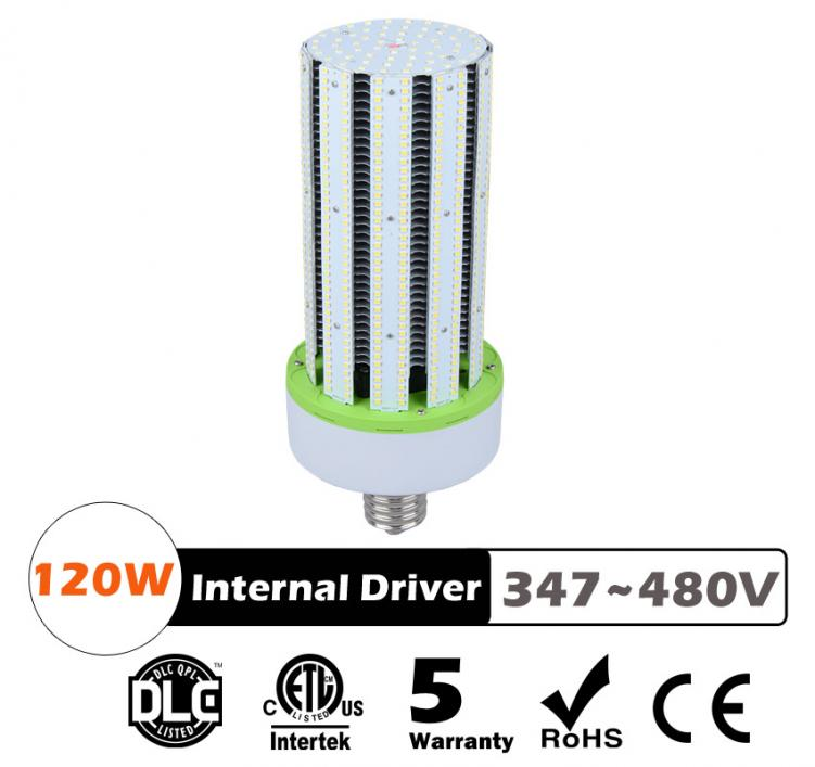 120W LED Corn Bulbs AC 347V 480V 15600Lm 130Lm/W Equal 450W HID