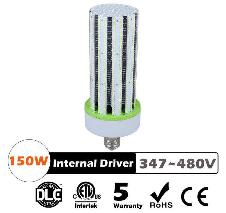 150W LED Corn Bulbs AC 347V 480V 19500Lm 130Lm/W Equal 500W HID
