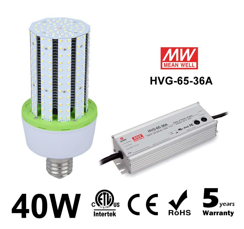 40W LED Corn Bulbs 5,200Lm Equal 150W HID External driver AC 347V 480V