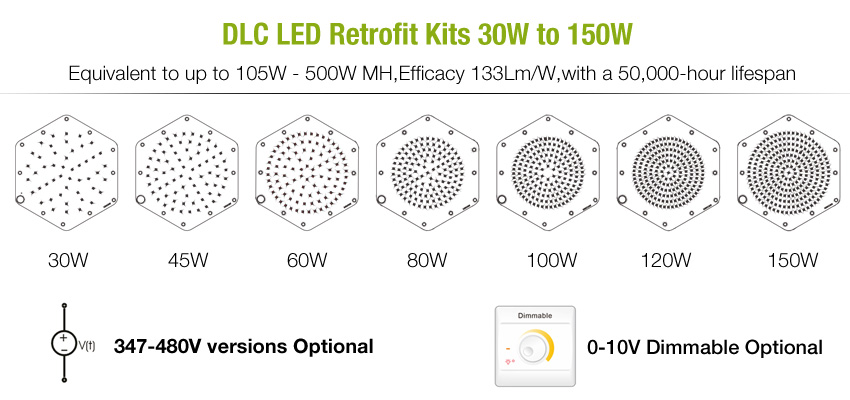DLC led retrofit kits 30w 150w