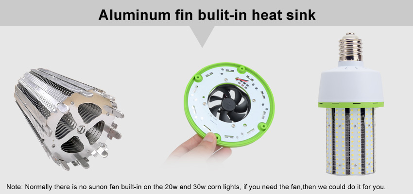 led corn light aluminum fin bulit-in heat sink
