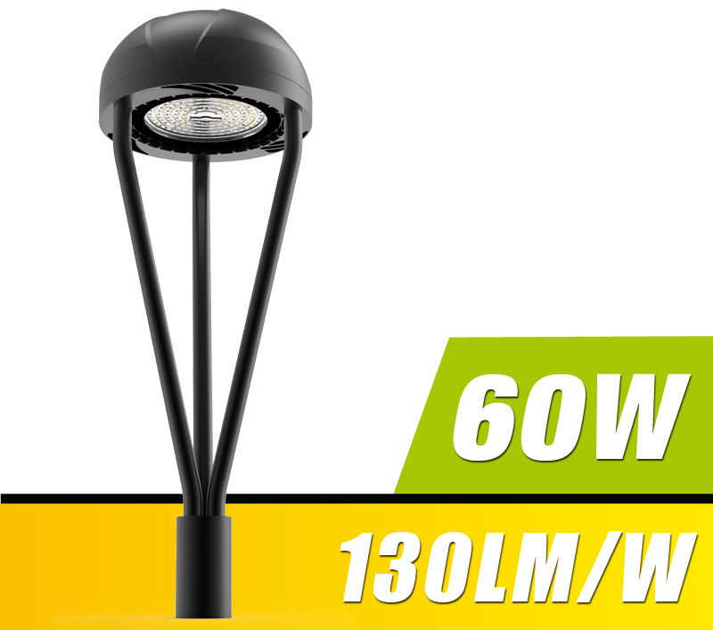 60W LED Post Top Light Fixture 6600Lm outdoor Park Pathway Pole Garden Lights Photocell