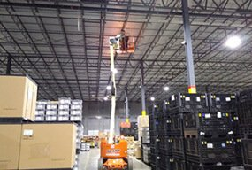 LSLBL-400WXY 400W LED Flat High Bay Light Fixtures  installed in USA Warehouse