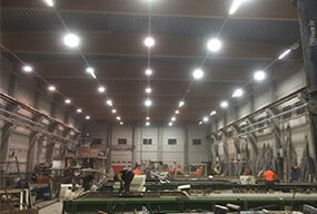 150W LED Flat High Bay Light 30pcs installed in Finland Workshop