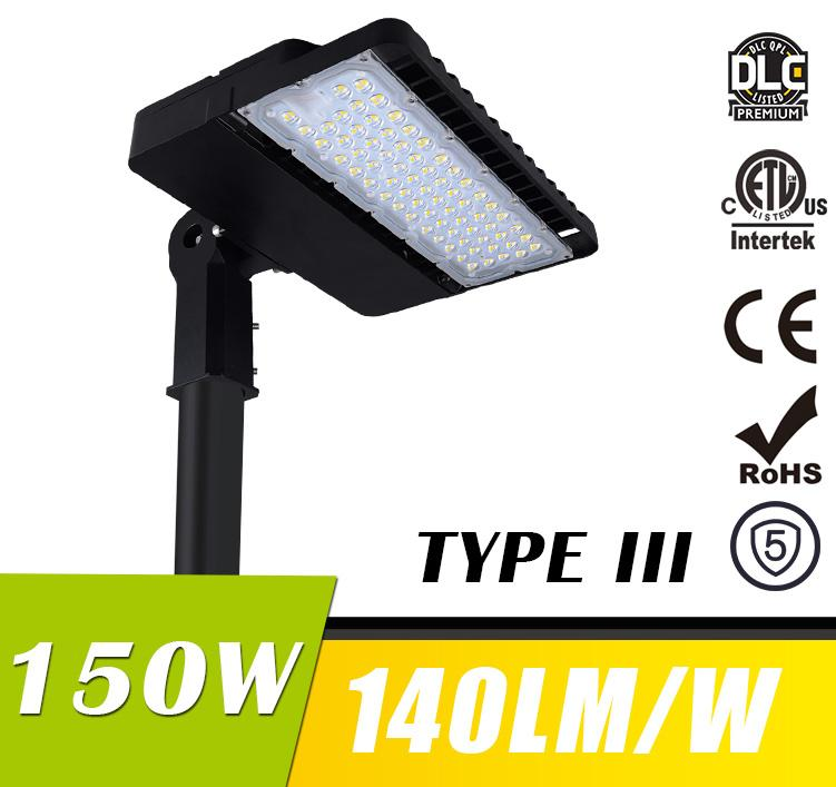 150W LED Shoebox Area Light Fixtures DLC Premium 140Lm/W 21000Lm