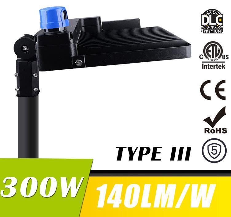 300W LED Shoebox Area Light Fixtures DLC Premium 140Lm/W 42000Lm