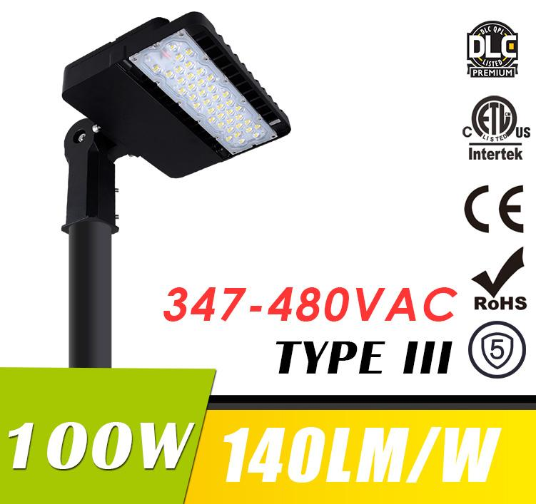 100W 347-480VAC LED Shoebox Light Fixtures Parking Lot Area Lighting