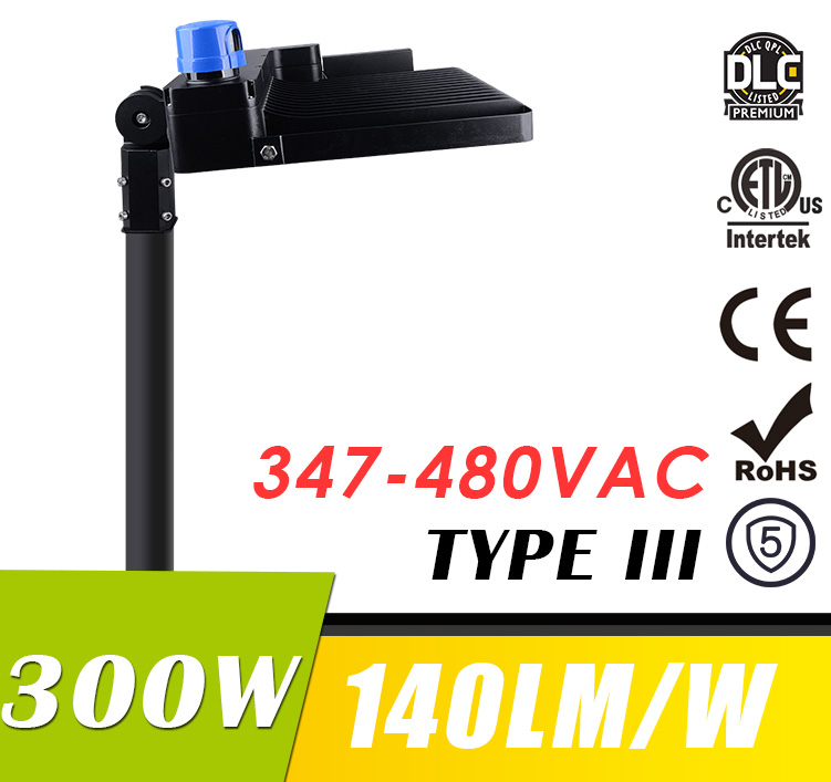 300W 347-480V LED Shoebox Light Fixtures Parking Lot Area Lighting