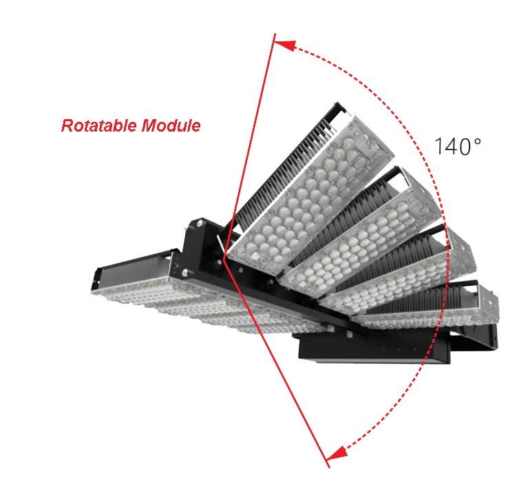 960W LED High Mast Light,Rotatable Module,155Lm/W,148800 Lumen,IP65,Stadium Light,Sports Lighting,Flood Lighting