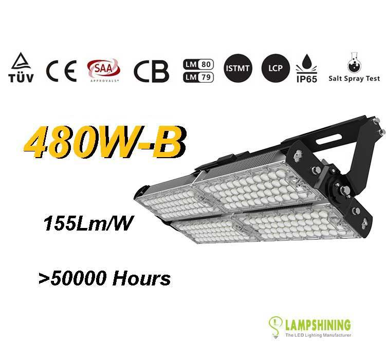 480W-B TUV SAA LED High Mast Light,Rotatable Module,155Lm/W,74400 Lumen,IP65,Stadium Light,Sports Lighting,Flood Lighting