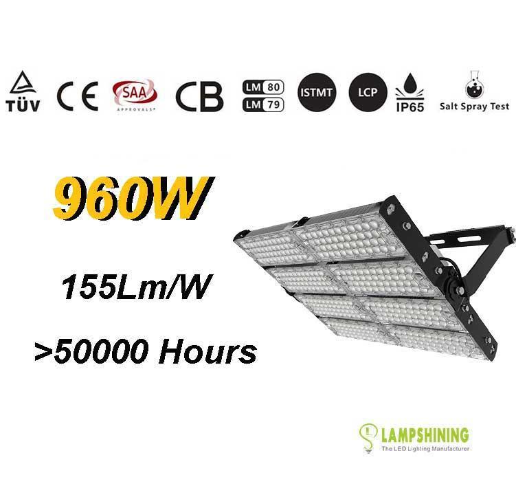 960W TUV SAA LED High Mast Light,Rotatable Module,155Lm/W,148,800 Lumen,IP65,Stadium Light,Sports Lighting,Flood Lighting