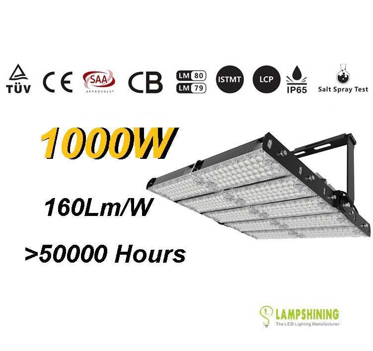1000W TUV SAA LED High Mast Light,Rotatable Module,160Lm/W,160,000 Lumen,IP65,Stadium Light,Sports Lighting,Flood Lighting
