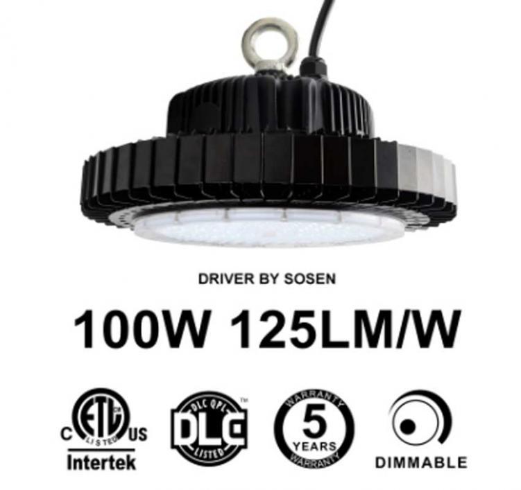 100W UFO LED High Bay Light 125Lm/W Sosen Driver ETL cETL DLC listed