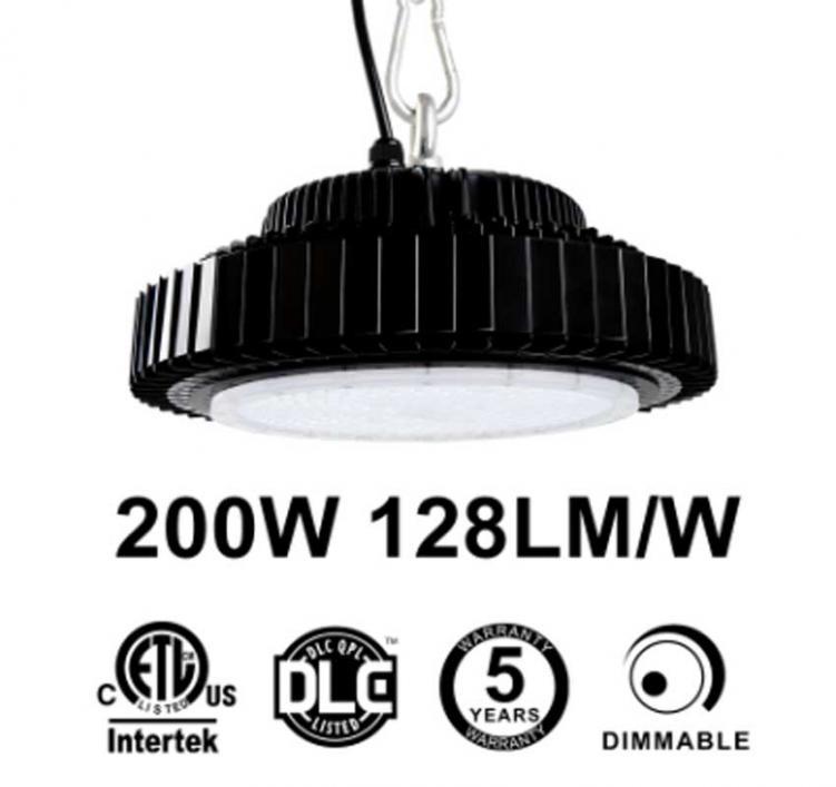 200W UFO LED High Bay Light 128Lm/W 25600 Lumen ETL cETL DLC listed