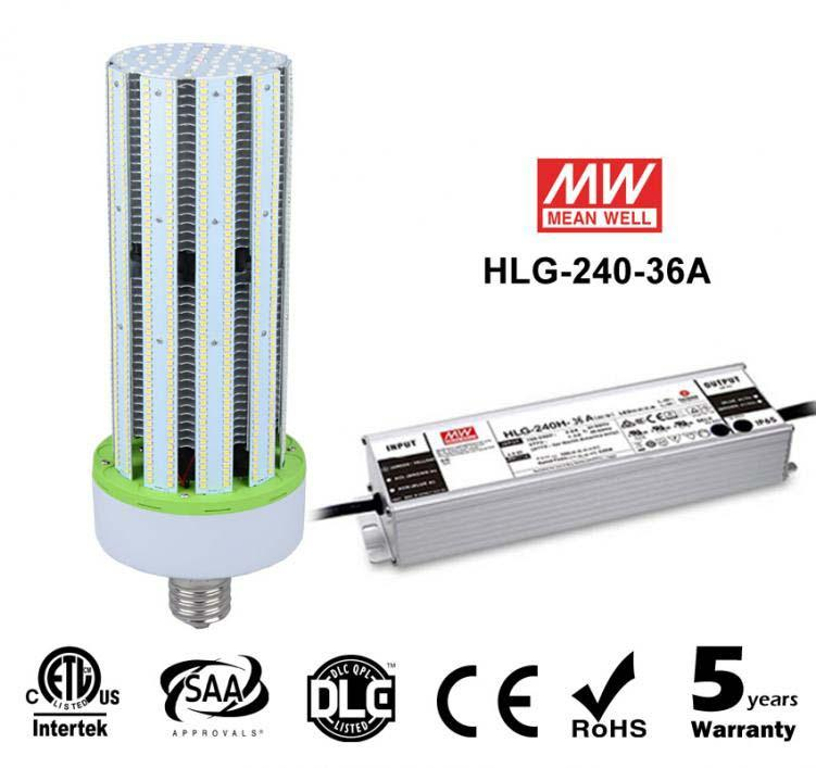 240W LED Corn Bulbs External driver HLG-240H-36A 28000Lm Equal 1000W HID