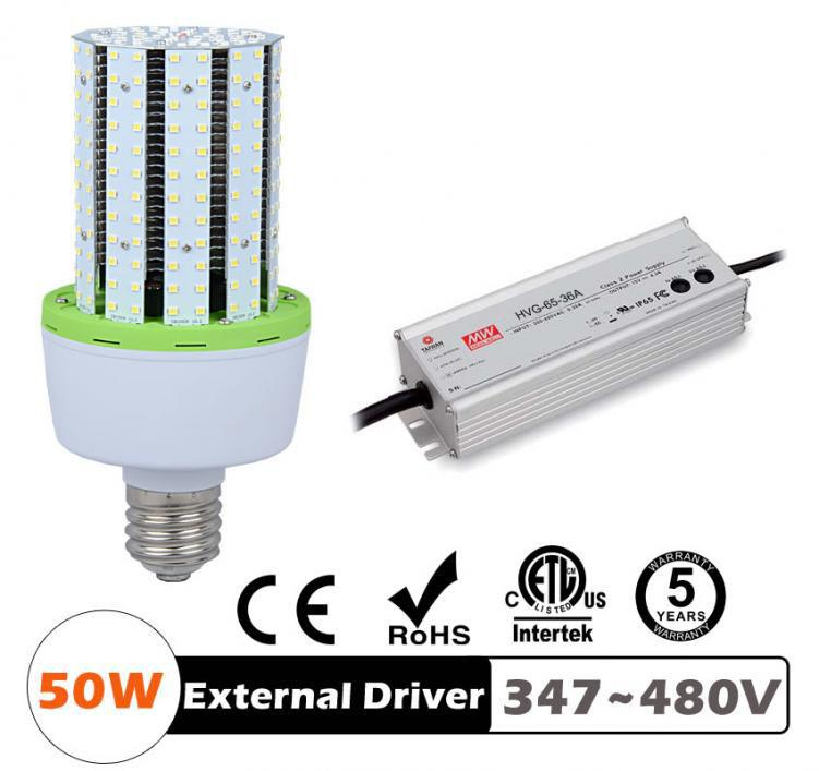50W LED Corn Bulbs 6250Lm Equal 225W HID External driver AC 347V~480V