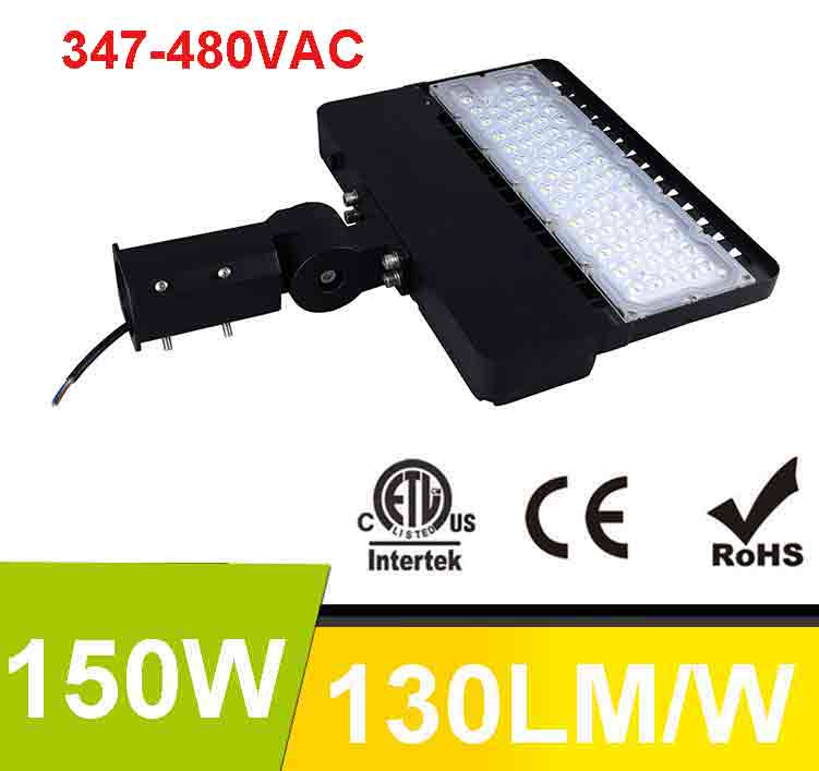 150W 347-480V LED Shoebox Area Light Fixtures 130Lm/W 19500Lm