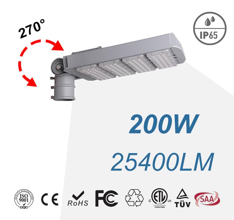 200W IP65 Arm Rotatable LED Street Lights 25400LM