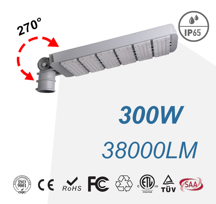 300W Arm Rotatable Meanwell LED Street Lamps 38000LM