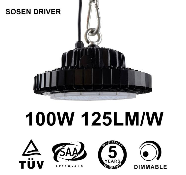 100W UFO LED High Bay 12,500 Lumen Sosen Driver 250W HID Equivalent TUV SAA C-tick listed